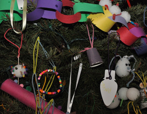 A sampling of the many ornaments on the tree.