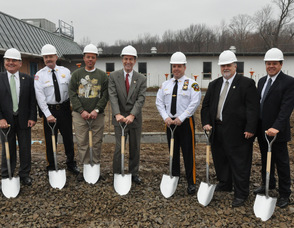 Breaking ground, from left to right: Freeholder Richard Vohden, Undersheeriff Keith Armstrong, Freeholder Parker Space, Congressman Scott Garrett, Sheriff Michael Strada, Freeholder Phillip Crabb, HQW Architect Sergio Chevarria.