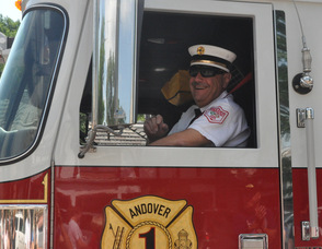 Gil Taglialatela drives one of the Andover Township fire trucks.