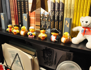 Historically-themed rubber ducks line the shelves of the museum gift shop.