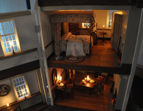 The interior of a Betsy Ross Dollhouse Replica on display at the museum, and created by Elmer Tag, of Morris Mini Makers of NJ.