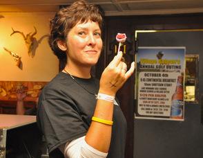 Christina Honthy enjoys a cake pop.
