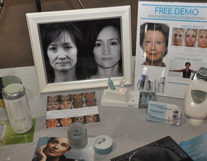 Skin care products on display, including the Galvanic Spa.