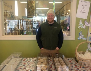 Rob Cadigan of The Pear Tree Pantry, with scones for sale.