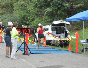 Melissa Fagersten of Sparta at the finish.