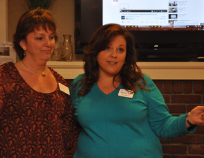 Cathy Dilger (left) and Donna Miller (right), speak to the group about the C3 Workplace.