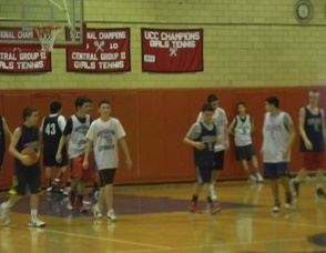 The Boys High School Basketball Team practicing