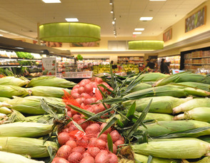 An array of produce, including fresh corn, at Kings Food Market in Livingston.