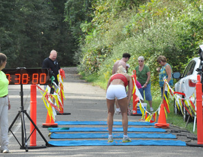 Catherine Stone at the finish line.