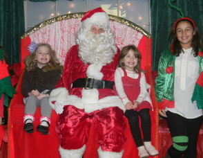 Julie and Emily Piazza with Santa