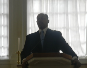 """Reverend  Ronald Allen, pastor of the Pilgrim Baptist Church in Summit  reading the """"I Have a Dream"""" speech"""