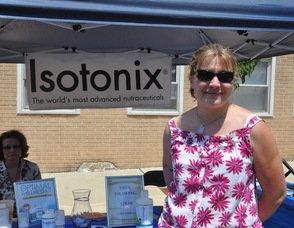 Emma Dolan and Karen Gawron with Isotonix products.