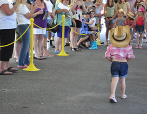 One of the youngest Daisy Dukes heads back towards the other contestants.