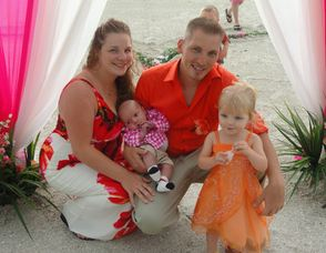 Tara Dippel, with fiance Jessie Vaughan, and their two children Jayden, and Dylan.