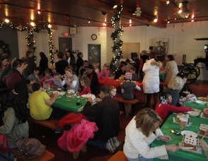 Children at last year's Gingerbread House Workshop.