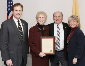 Pictured from left to right: NJTPA Chairman Matthew Holt, former Sussex County Freeholder Susan Zellman, Sussex County Freeholder Richard A. Vohden, and NJTPA Executive Director Mary K. Murphy.