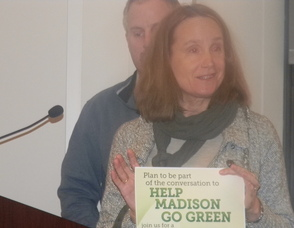 Betsy Uhlman, former chair of Sustainable Madison making a presentation on the Green Forum