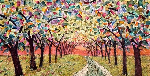 Top_story_5d8ae5a6b104b9ef3b14_woodland_walk_mixed_media_on_canvas_by_penny_feder